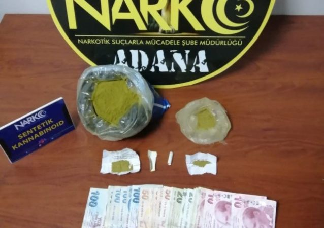 Adana'da poşet içinde 837 gram bonzai bulundu