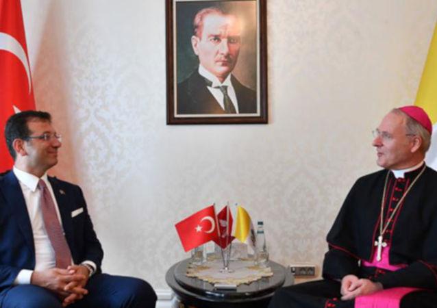 İstanbul Büyükşehir Belediye Başkanı Ekrem İmamoğlu, Vatikan Büyükelçisi Başpiskopos Paul Russel ile görüştü.