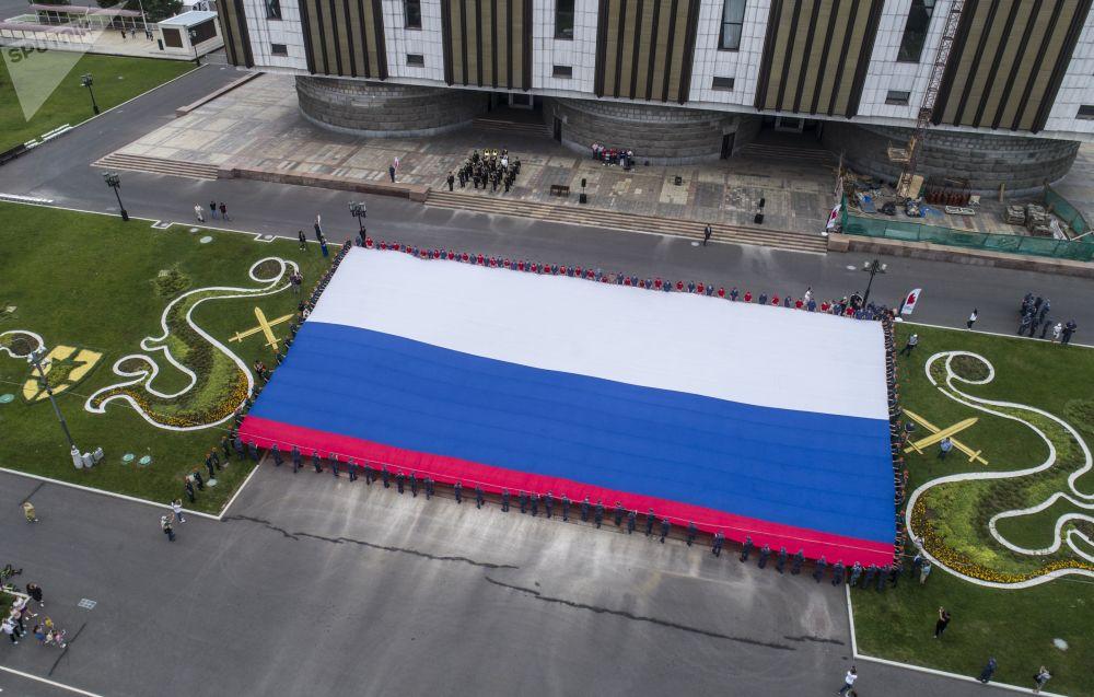 Başkent Moskova'daki Zafer Parkı'nda Ulusal Bayrak Günü nedeniyle düzenlenen etkinlikten bir kare.