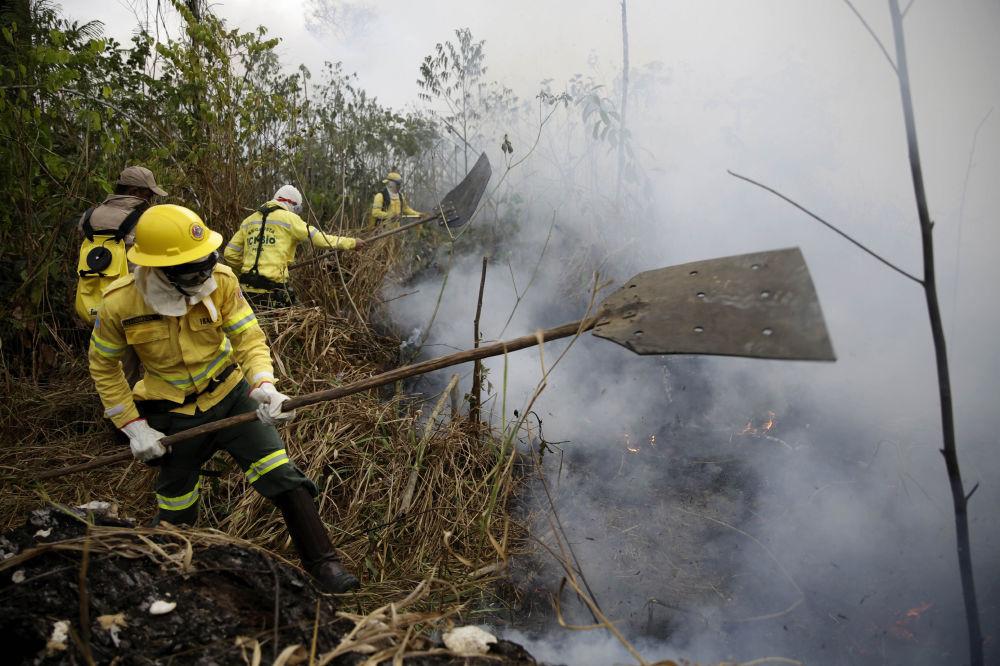 Brezilyalı itfaiyeciler, Porto Velho şehrine yaklaşan yangınla mücadele ediyor.