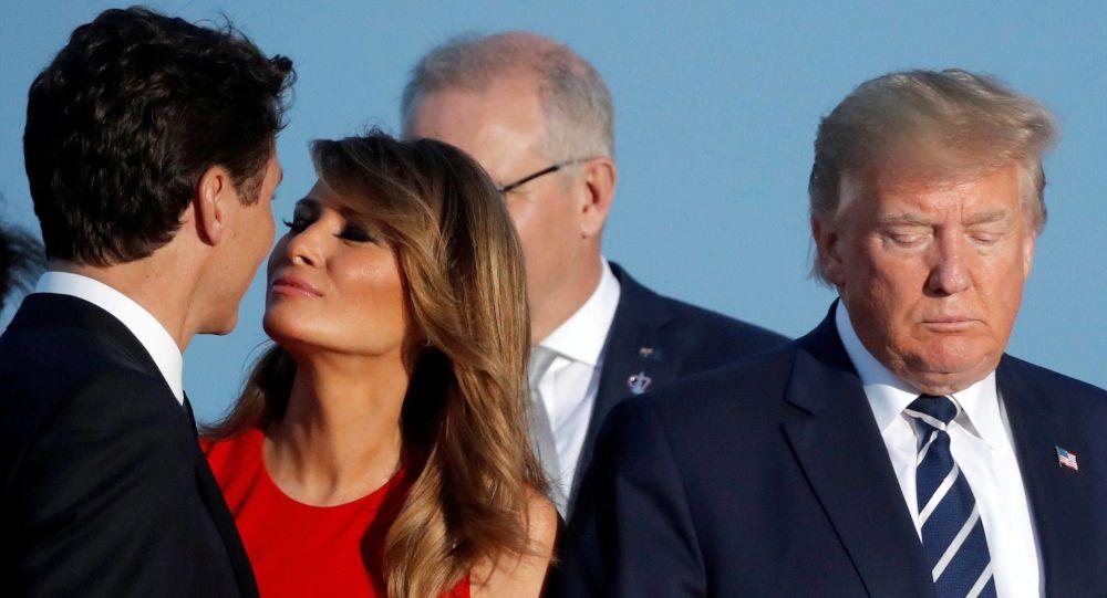 25 Ağustos 2019'da Fransa'daki G7 zirvesinde Melania Trump ile Justin Trudeau arasında yaşanan sahne