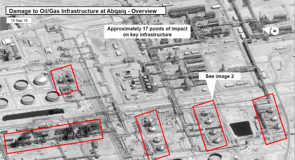 ABD, Suudi petrl devi Aramco'nun iki tesisinde 19 noktanın vurulduğu ve saldırıların batı-kuzey-batı yönünden geldiğine dair uydu görüntüleri yayımladı.