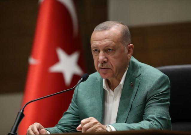 Erdoğan, 75. BM Genel Kurulu'na katılmak için ABD'ye gidişi öncesi İstanbul Atatürk Havalimanı'nda basın toplantısı düzenlerken