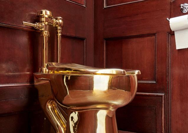 Bir serginin parçası olan 'America' isimli altın klozet,  Blenheim Sarayı'nın tesisatına bağlanmasına rağmen çalındı.