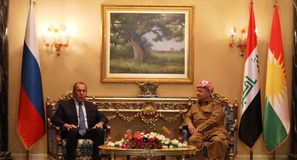 Irak'ta temaslarda bulunan Rusya Dışişleri Bakanı Sergey Lavrov (solda), Kürdistan Demokrat Partisi (KDP) Genel Başbakanı Mesut Barzani (sağda) ile Erbil'de bir araya geldi.