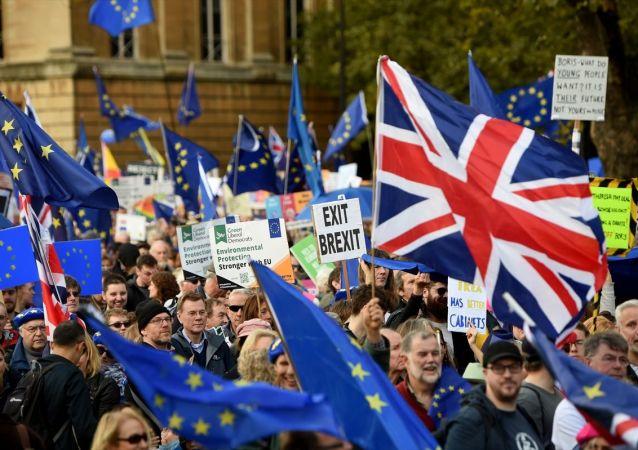 İngiltere'nin başkenti Londra bir araya gelen göstericiler, AB ile varılan yeni Brexit anlaşmasının İngiliz parlamentosunun alt kanadı Avam Kamarasında tartışılıp oylanması öncesinde bir araya gelerek, halk tarafından oylanmak üzere referanduma sunulması talebiyle gösteri düzenledi.