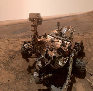 NASA'nın uzay aracı Curiosity'nin Mars yüzeyinde  incelemeler yaparken çektiği selfie. 11 Ekim 2019