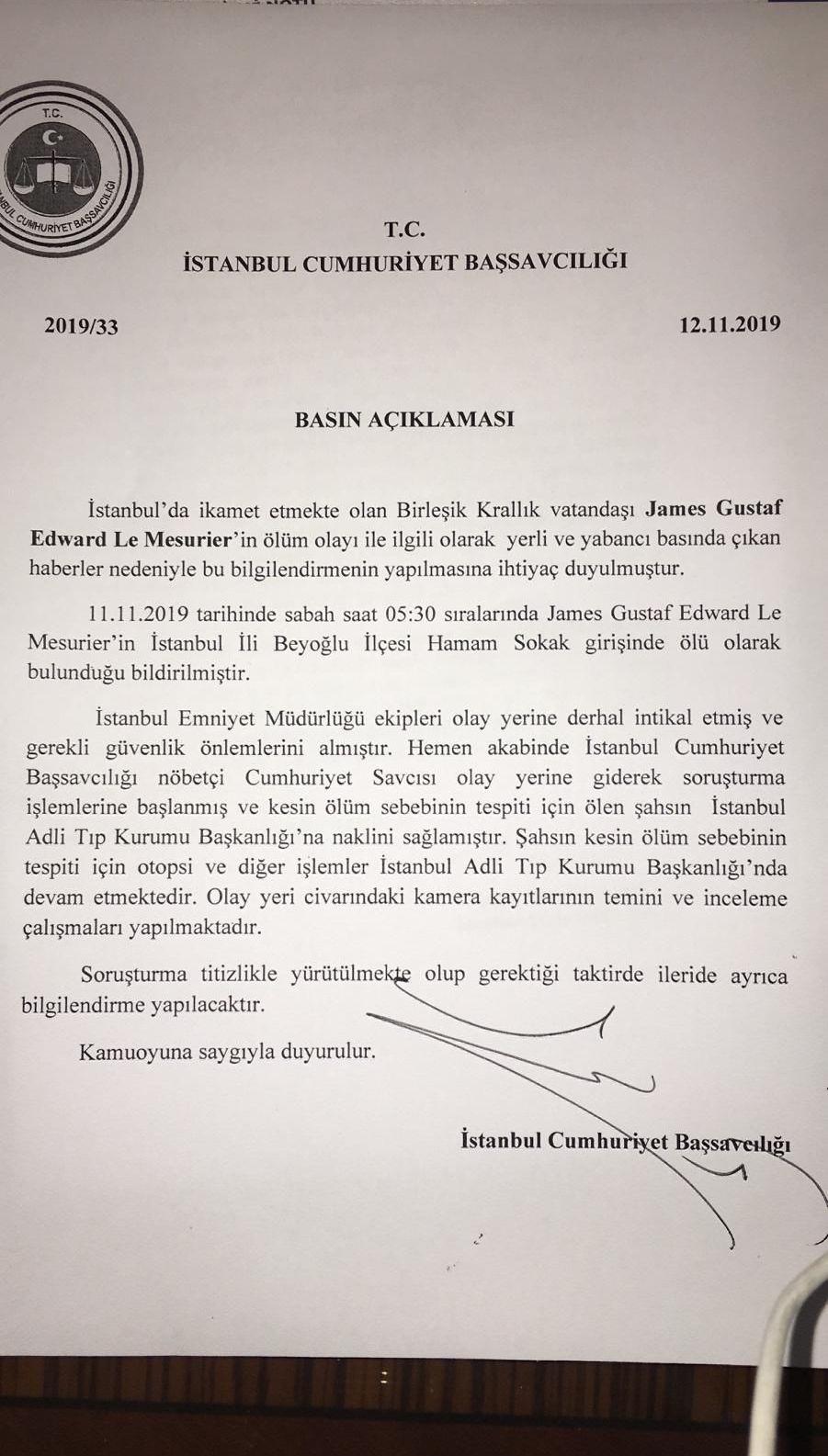 İstanbul Cumhuriyet Başsavcılığı'ndan eski İngiliz subayının ölümüne ilişkin açıklama