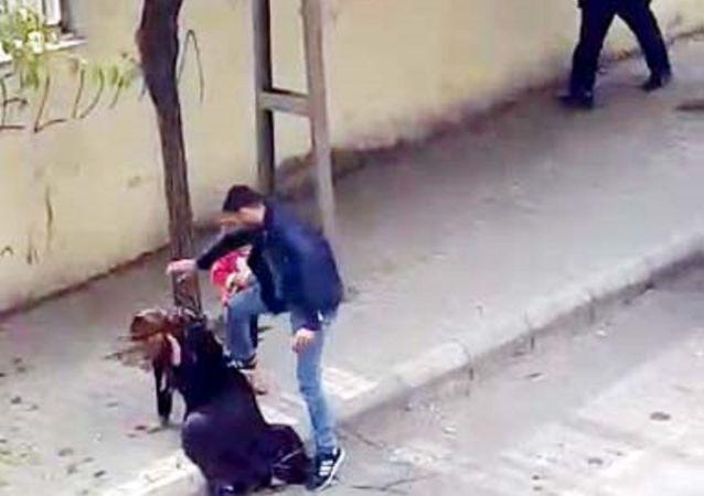 Gaziantep'te, sokak ortasında eşine şiddet uygulayan ve gözaltına alınmasının ardından serbest bırakılan Emrah Ç.
