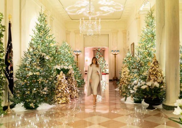 ABD Başkanı Donald Trump'ın eşi Melania Trump Noel öncesi Beyaz Saray'ı süsledi.