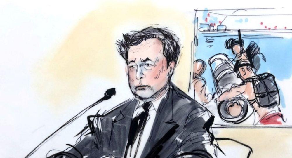 Elon Musk'ın mahkeme çizimi