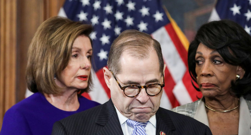 House Judiciary Chairman Jerrold Nadler (D-NY) stands with U.S. House Speaker Nancy Pelosi (D-CA),  House Financial Services Chairwoman Maxine Waters (D-CA) and other House committee chairs at a news conference to announce articles of impeachment against U.S. President Donald Trump on Capitol Hill in Washington, U.S., December 10, 2019. REUTERS/Jonathan Ernst