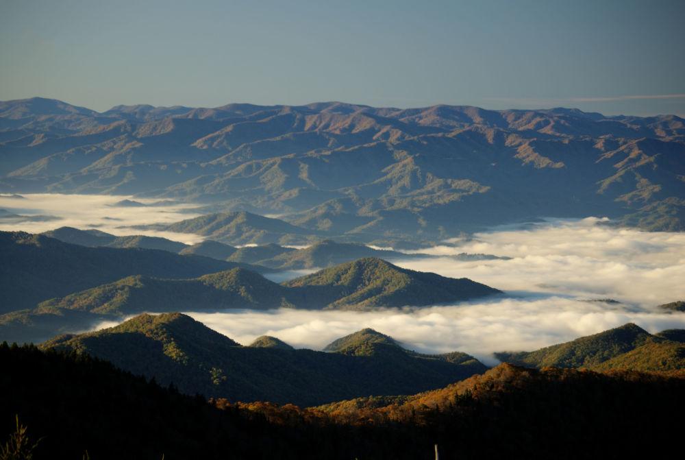 ABD'deki Büyük Smoky Dağları Ulusal Parkı'nın kuşbakışı manzarası.