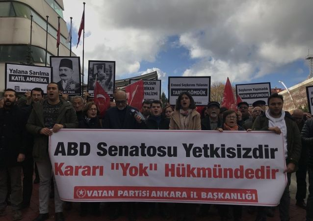 ABD Senatosu'nun Ermeni karar tasarısı Ankara'da protesto edildi