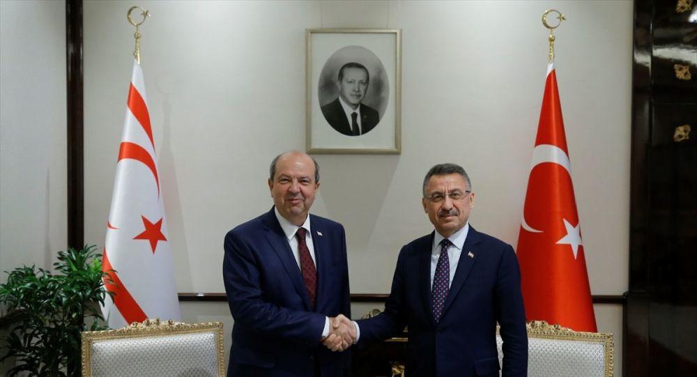Cumhurbaşkanı Yardımcısı Fuat Oktay, Kuzey Kıbrıs Başbakanı Ersin Tatar