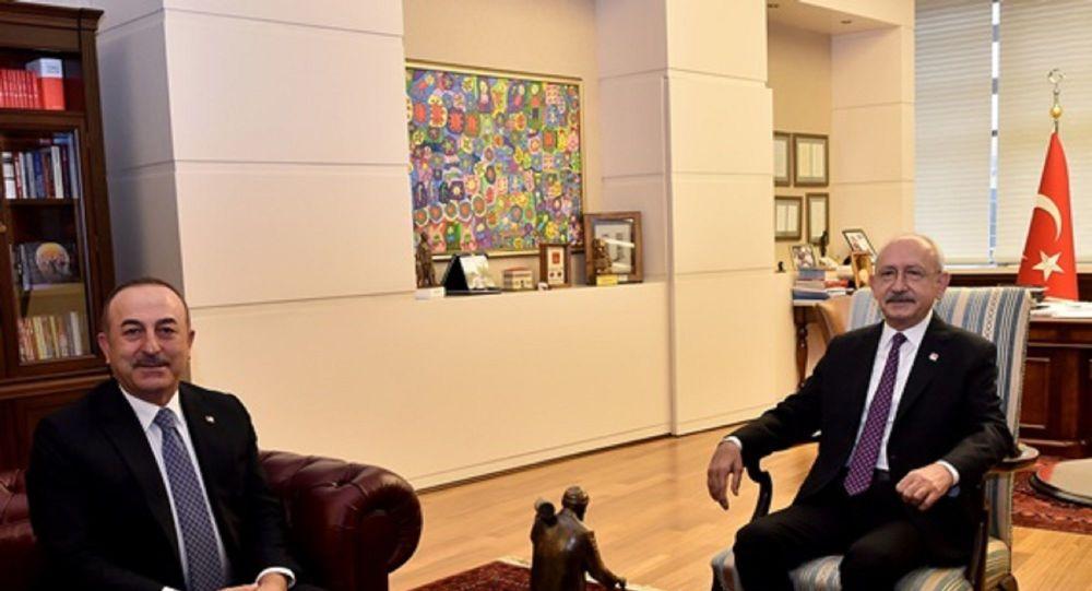 Dişişleri Bakanı Mevlüt Çavuşoğlu, CHP Genel Başkanı Kemal Kılıçdaroğlu'nu ziyaret ederek, Libya Tezkeresi hakkında bilgi verdi.
