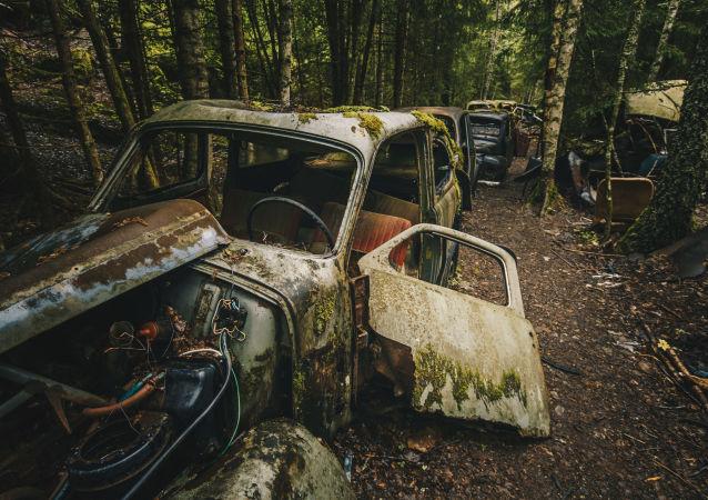 İsveç-Norveç sınırındaki araba mezarlığı.
