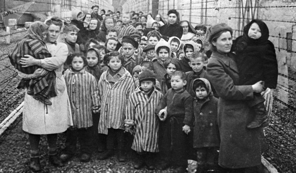 Auschwitz-Birkenau kampı Kızıl Ordu tarafından faşistlerden kurtarıldıktan birkaç saat sonra çekilen bu fotoğrafta  kampın esirleri ile Sovyet doktorları ve Kızıl Haç görevlileri bulunuyor.