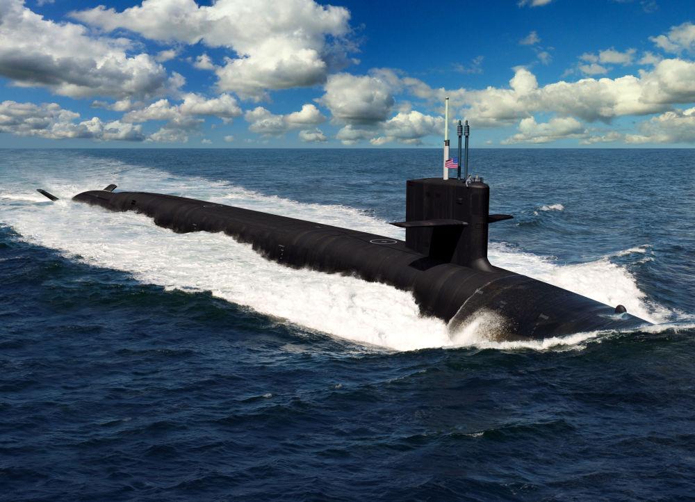 Gelecek yıl inşa edilip 2031 yılında kullanıma geçirilmesi planlanan Amerikan Columbia sınıfı denizaltının resmi.