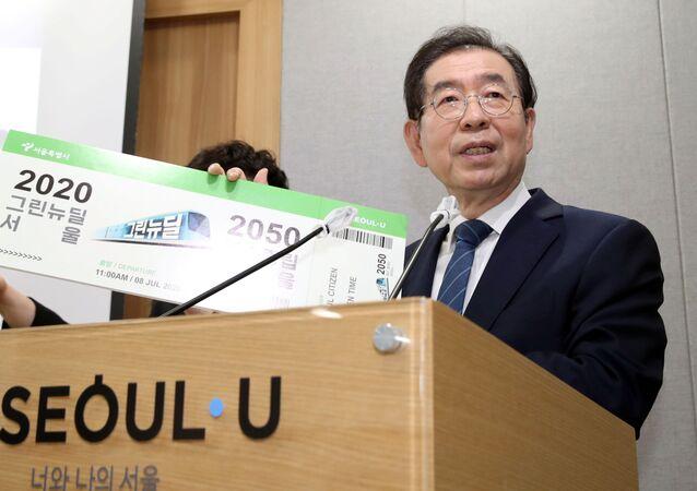 Park Won-soon, Seul Belediye Meclisi'ndeki bir etkinlikte konuşurken