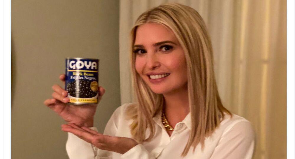 ABD Başkanı'nın kızı ve Beyaz Saray üst düzey danışmanı Ivanka Trump'ın elinde Goya konservesiyle reklam yaptığı Twitter paylaşımı