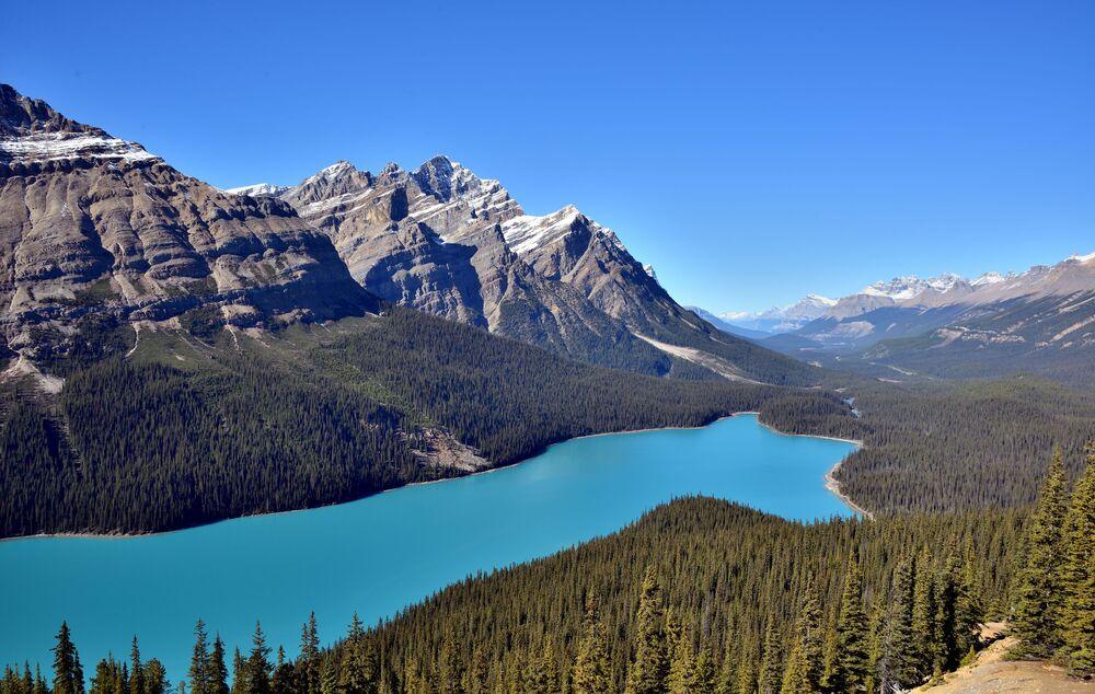Kanada'da bulunan Peyto gölü Banff Milli Parkı'nın bir parçasıdır. Göl, ismini Banff bölgesi izcisi Ebenezer William Peyto'dan almıştır.  Peyto gölü tam anlamıyla bir görsel şölendir. Çevresindeki buzullardan beslenen göl hem buzullarla birlikte gelen kaya parçacıklarından dolayı hem de buzulların vermiş olduğu berraklıktan dolayı turkuaz renginde ve parlak. Gölün maksimum uzunluğu 5.8 km, maksimum derinliği ise 0.8 km'dir.