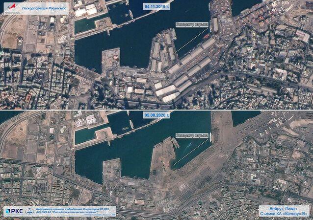 Beyrut Limanı'nda patlayıcı maddelerin bulunduğu 12 numaralı depoda yangın çıktı. Yangın nedeniyle güçlü bir patlama meydana geldi. Patlama sesi başkentin banliyölerinden de duyuldu. Fotoğrafta: Rus uzay şirketi Roscomos tarafından paylaşılan ve Beyrut Limanı'nın 4 Kasım 2019 tarihindeki ve patlama sonraki halini gösteren görüntüler