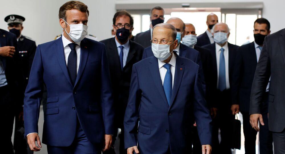 Fransa Cumhurbaşkanı Macron ve Lübnan Cumhurbaşkanı Mişel Aun