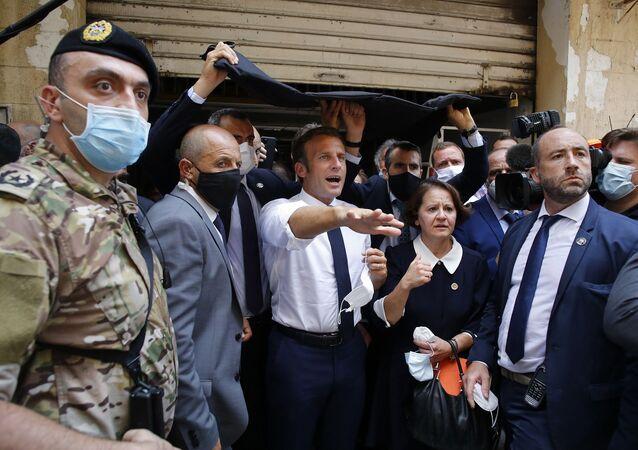 Fransa Cumhurbaşkanı Emmanuel Macron, Lübnan'da