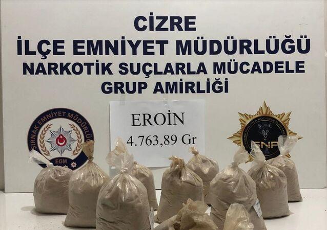 Şırnak'ın Cizre ilçesinde düzenlenen operasyonda 4 kilo 800 gram eroin ele geçirildi.