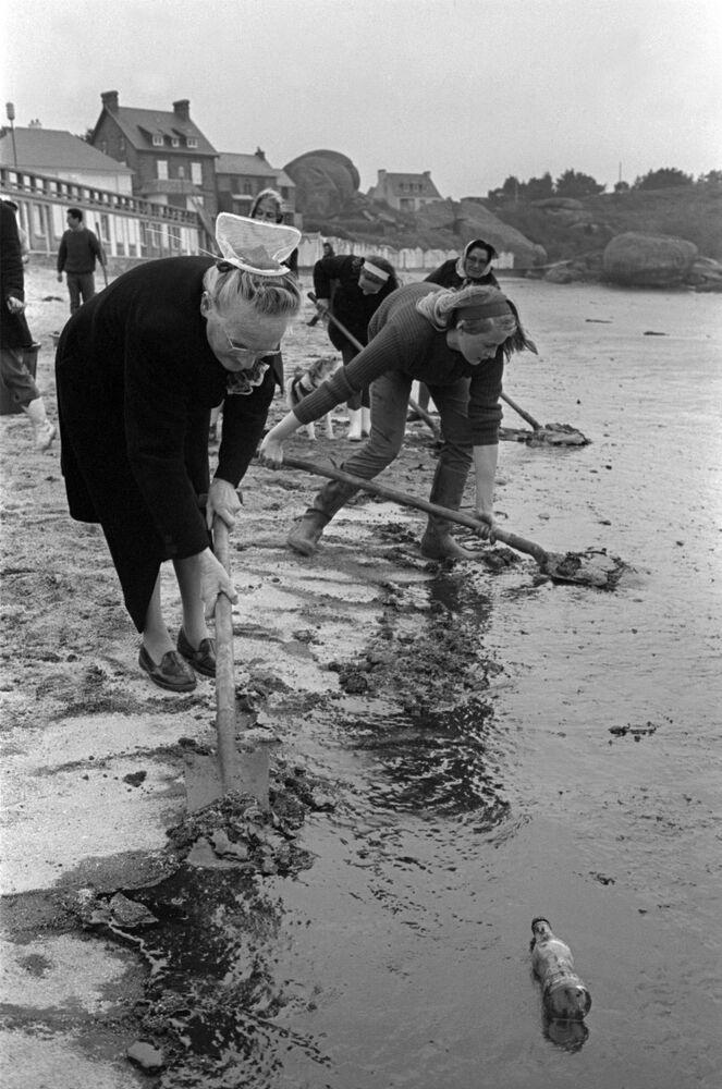 1967 yılında 120 bin ton ham petrol taşıma kapasitesiyle döneminde dünyanın en büyük tankerlerinden biri olan Torrey Canyon, İngiltere'de karaya oturmuş ve ciddi bir deniz kirliliğine yol açmıştı. Yaklaşık 120 bin ton denize dökülmüş petrol tabakası İngiltere ve Fransa arasında denize yayılmış, 15 bin deniz kuşu zayi olmuş ve kirliliğin etkisi yıllarca sürmüştü. Fotoğrafta: Askerler ve gönüllüler,  sahilde kazanın sonuçlarını ortadan kaldırma çalışmalarını sürdürüyor, 1967