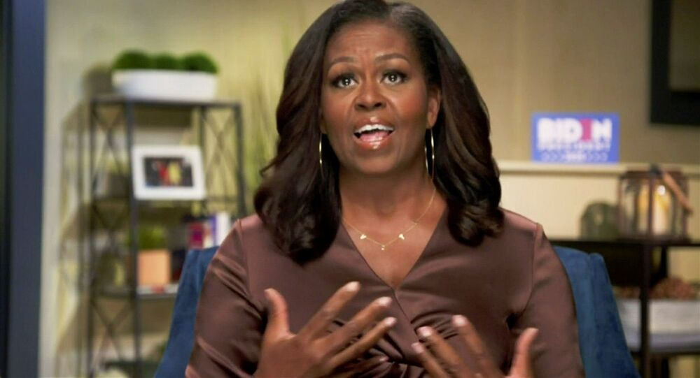 Former first lady Michelle Obama speaks in a frame grab from the live video feed of the all virtual 2020 Democratic National Convention as participants from across the country are hosted over video links to the originally planned site of the convention in Milwaukee, Wisconsin, U.S. August 17, 2020.   2020 Democratic National Convention/POOL via REUTERS