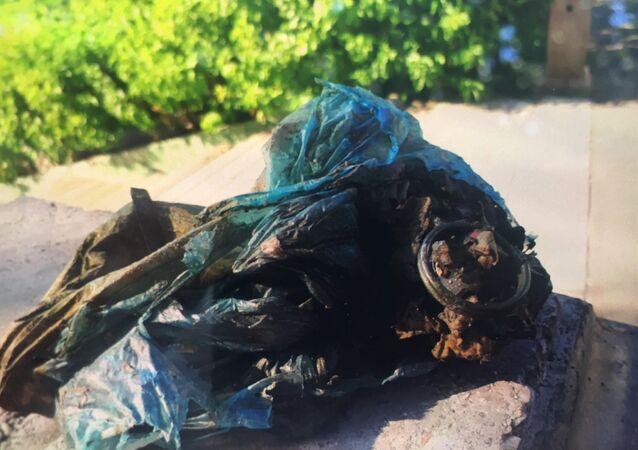 Eskişehir'de Porsuk Çayı'nda balık tutan bir kişinin oltasına el bombası takıldı. Olay yerine gelen polis ekipleri, poşet içindeki el bombasını kontrol ederek muhafaza altına aldı.