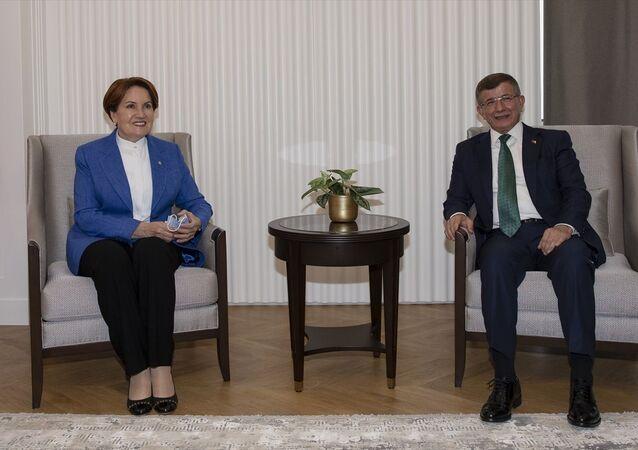 İYİ Parti Genel Başkanı Meral Akşener, Gelecek Partisi Genel Başkanı Ahmet Davutoğlu'nu partisinin genel merkezinde ziyaret etti.