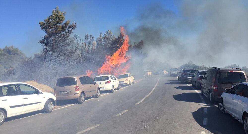 İzmir'in Seferihisar ilçesindeki otluk alanda çıkan yangın, bir anda o sırada plajda bulunan vatandaşların park halindeki araçlarına sıçradı.