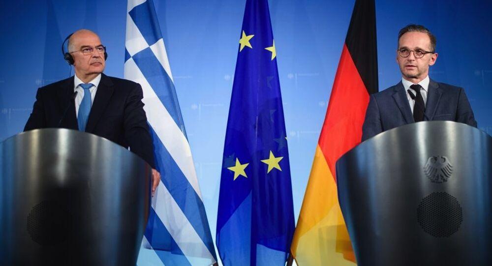 Yunan ve Alman dışişleri bakanları Dendias ile Maas'ın 2019'da Türkiye ile göçmen krizini ele aldıkları görüşmeden