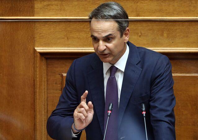 Mısır ve İtalya ile ayrı ayrı imzalanan deniz yetki alanlarını sınırlandırma anlaşmalarının görüşüldüğü parlamentoya seslenen Yunanistan BaşbakanıKiriakos Miçotakis