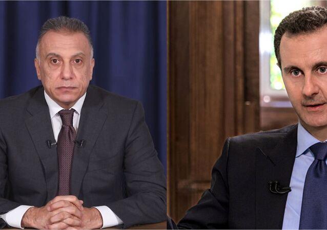 Irak Başbakanı Mustafa Kazimi ve Suriye Devlet Başkanı Beşar Esad