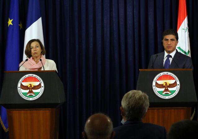 Fransa Savunma Bakanı Florence Parly ve Irak Kürt Bölgesel Yönetimi'nin (IKBY) Başkanı Neçirvan Barzani