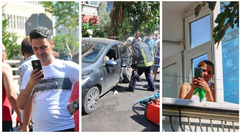 Antalya'da otomobilde sıkışan ve yardım bekleyen kadın sürücü, itfaiye ekipleri tarafından aracın kapısı kesilerek kurtarıldı. Kadın sürücü nefes alamadığını söyleyip yardım beklediği anlarda, etrafta toplanan kalabalıktan bazıları ise cep telefonu ile yaşananları görüntüleme yarışına girdi.