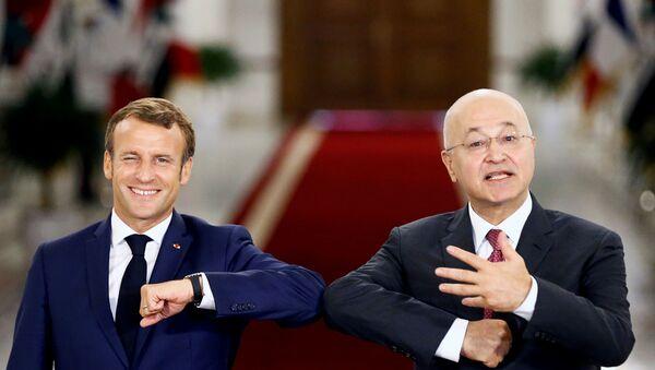 Fransa Cumhurbaşkanı Emmanuel Macron-Irak Cumhurbaşkanı Berham Salih - Sputnik Türkiye
