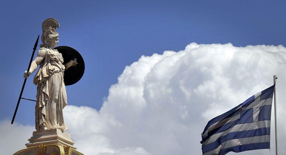 Yunanistan bayrağı - Atina - Athena heykeli