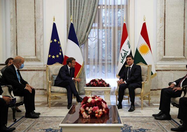Irak Kürt Bölgesel Yönetimi (IKBY) Başkanı NeçirvanBarzani, başkent Bağdat'ta Fransa Cumhurbaşkanı Emmanuel Macron ile görüştü.