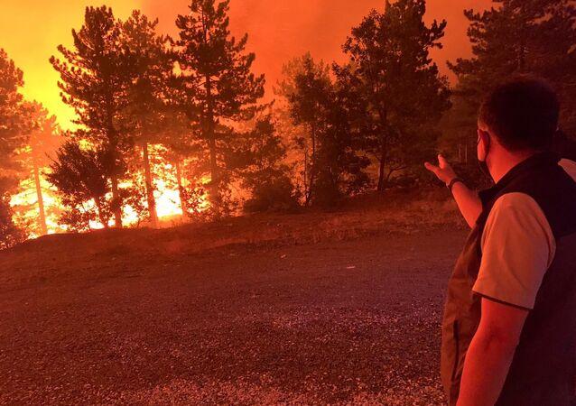 Tarım ve Orman Bakanı Bekir Pakdemirli, Denizli'nin Çardak ilçesinde 7 saattir devam eden yangının genişlemesini önlemek ve kontrol altına almak için karşı ateş talimatı verdi.