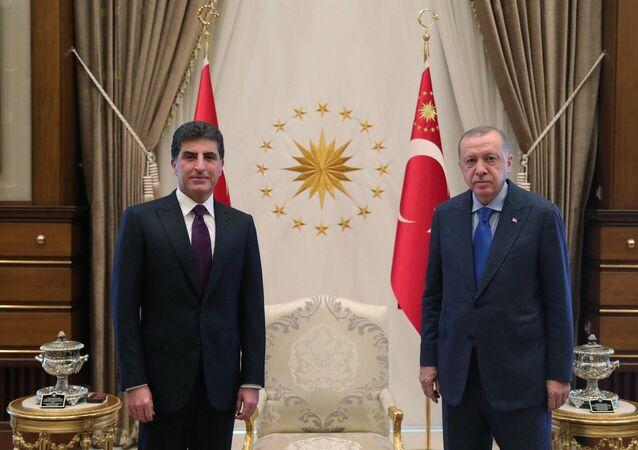 Türkiye Cumhurbaşkanı Recep Tayyip Erdoğan, Irak Kürt Bölgesel Yönetimi (IKBY) Başkanı Neçirvan Barzani'yi kabul etti.