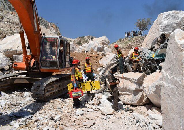 Pakistan'ın Khyber Pakhtunkhwa eyaletine bağlı Mohmand kasabasında meydana gelen maden göçüğü
