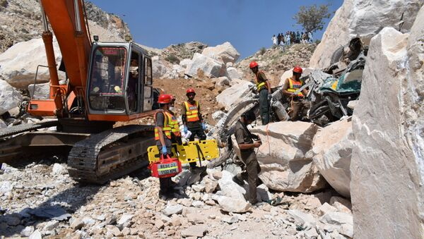 Pakistan'ın Khyber Pakhtunkhwa eyaletine bağlı Mohmand kasabasında meydana gelen maden göçüğü - Sputnik Türkiye
