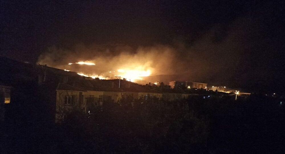 Gökçeada'da mera yangını