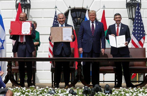 Beyaz Saray'da İsrail-BAE-Bahreyn normalleşme anlaşmaları imza töreni - Sputnik Türkiye