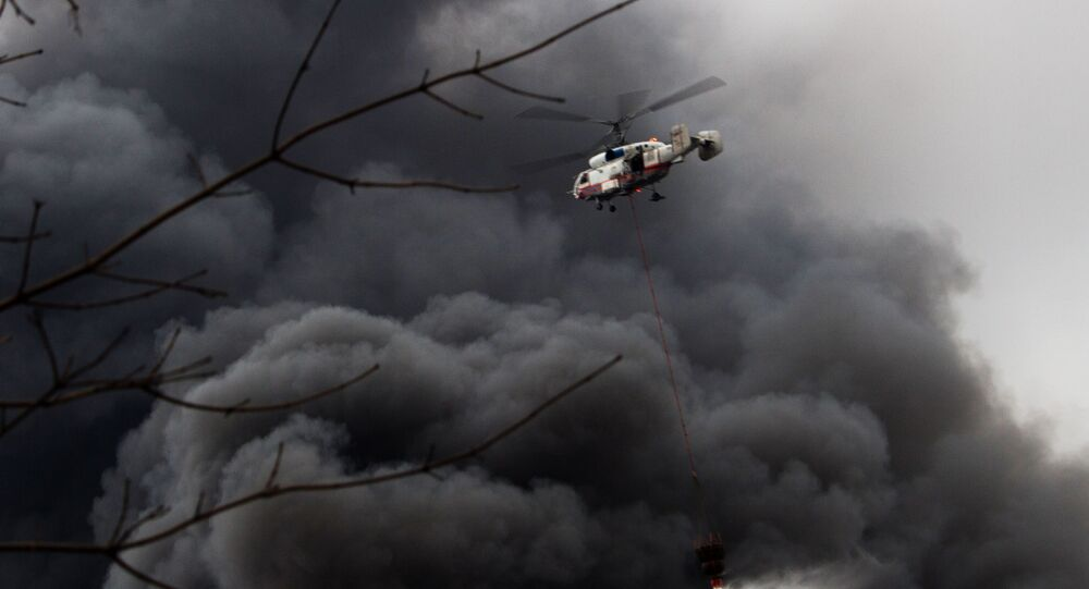 Ka-32A helikopteri yangın söndürme çalışmalarına katılıyor
